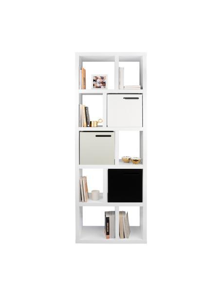 Libreria bianca Portlyn, Rivestimento: fibra a media densità, Superficie: strato melaminico, Bianco opaco, Larg. 70 x Alt. 198 cm