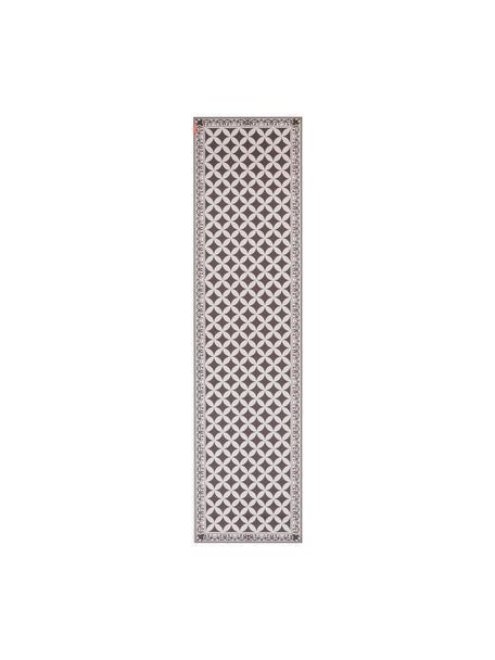 Vlakke vinyl vloermat Chadi in kaki / beige, antislip, Recyclebaar vinyl, Kakigroen, beige, 65 x 255 cm