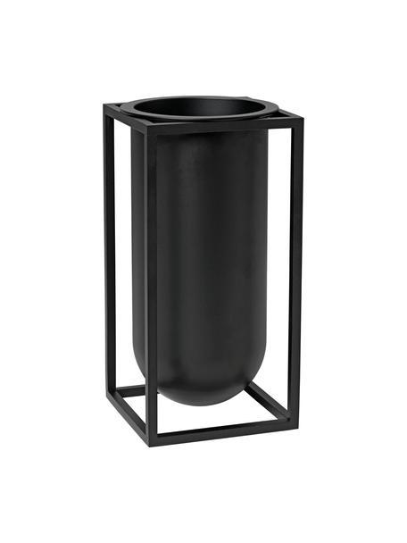 Vaso da interno/esterno in alluminio Kubus, Alluminio verniciato, Nero, Larg. 10 x Alt. 20 cm