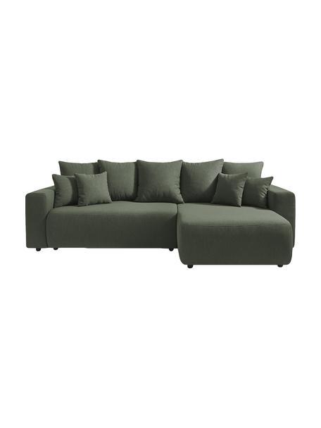 Sofá cama rinconero modular Elvi, con espacio de almacenamiento, Tapizado: poliéster, Patas: plástico, Verde oliva, An 282 x F 153 cm