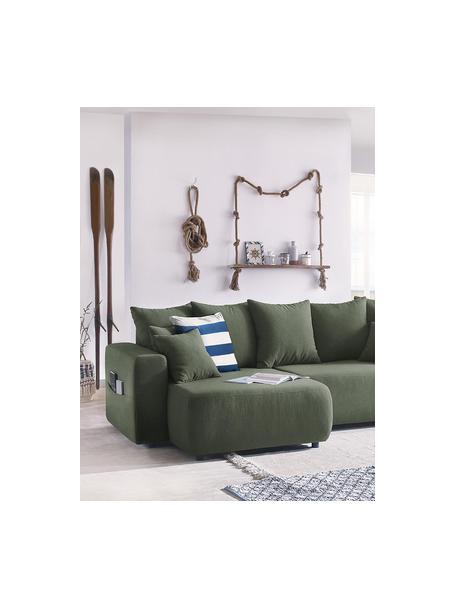 Sofá cama rinconero Elvi, con espacio de almacenamiento, Tapizado: poliéster con revestimien, Patas: plástico, Verde oliva, An 282 x F 153 cm