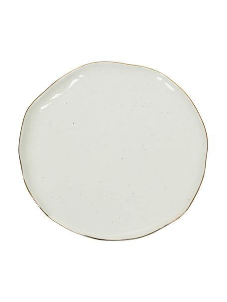 Handgemaakt ontbijtborden Bella met goudkleurige rand, 2 stuks, Porselein, Crèmewit, Ø 19 x H 3 cm