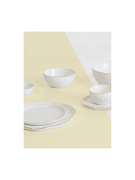 Handgemachte Frühstücksteller Bella mit Goldrand, 2 Stück, Porzellan, Cremeweiß, Ø 19 x H 3 cm