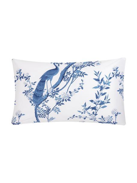 Funda de almohada de percal Annabelle, 45x85cm, Blanco, azul, An 45 x L 85 cm