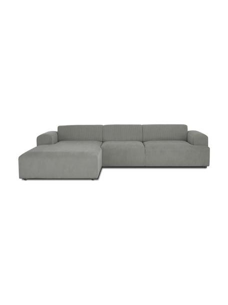 Ribfluwelen hoekbank Melva (4-zits) in grijs, Bekleding: corduroy (92% polyester, , Frame: massief grenenhout, FSC-g, Poten: kunststof, Corduroy grijs, B 319 x D 196 cm