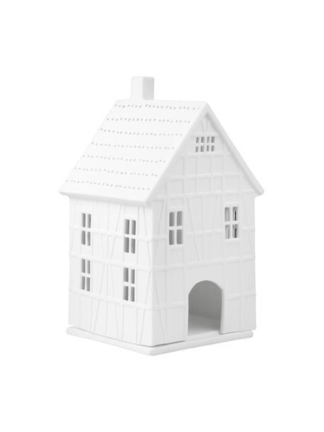 Porseleinen waxinelichthouder Living in wit, Porselein, Wit, 10 x 19 cm