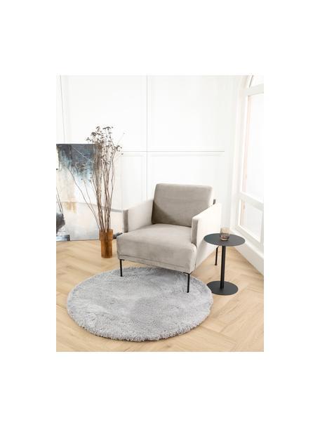 Samt-Sessel Fluente in Beige mit Metall-Füssen, Bezug: Samt (Hochwertiger Polyes, Gestell: Massives Kiefernholz, Samt Beige, B 74 x T 85 cm