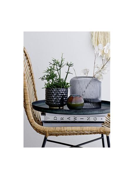 Kleine handgemaakte plantenpot Dela van keramiek, Keramiek, Blauw, beige, Ø 10 x H 10 cm