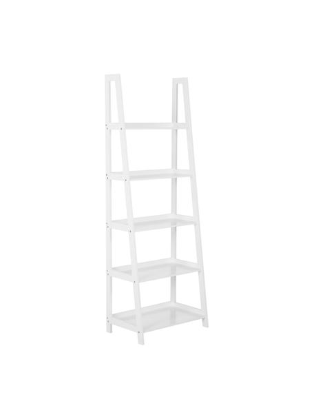 Estantería escalera Wally, Tablero de fibras de densidad media (MDF) pintado, Blanco, alto brillo, An 63 x Al 180 cm