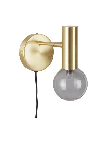Kinkiet z kloszem ze szkła i wtyczką Wilson, Stelaż: metal mosiądzowany, Odcienie złotego, szary, S 12 x W 22 cm