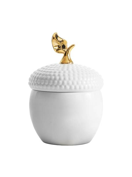 Tarro decorativo Eichel, Gres, Blanco, dorado, Ø 14 x Al 20 cm