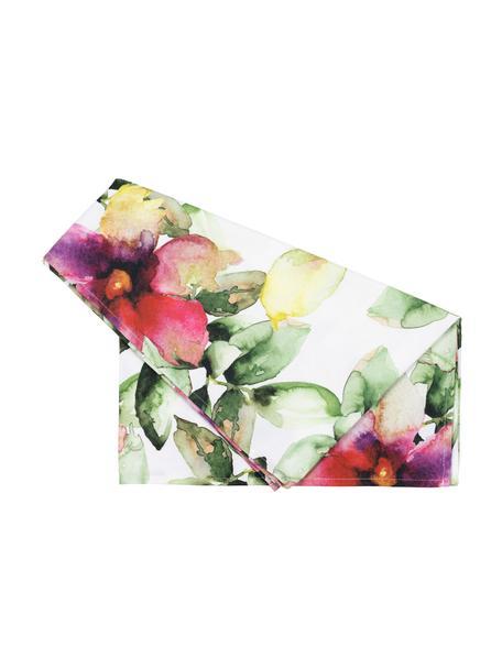 Runner in cotone Floreale, 100% cotone, Bianco, multicolore, Larg. 50 x Lung. 160 cm