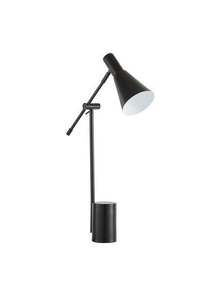 Grote bureaulamp Sia van metaal, Lampenkap: gepoedercoat metaal, Lampvoet: gepoedercoat metaal, Zwart, 13 x 63 cm