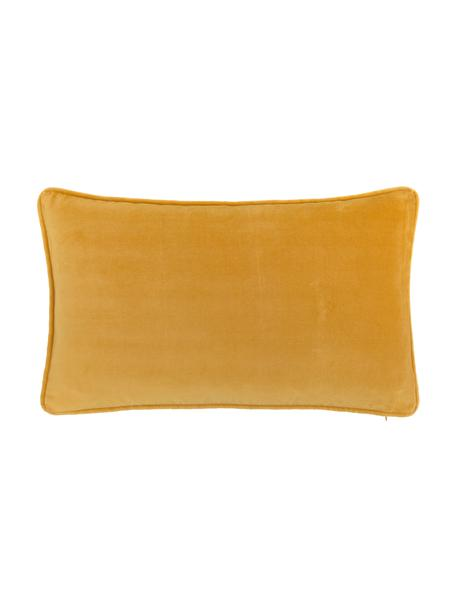 Federa arredo in velluto in giallo ocra Dana, 100% velluto di cotone, Giallo ocra, Larg. 30 x Lung. 50 cm