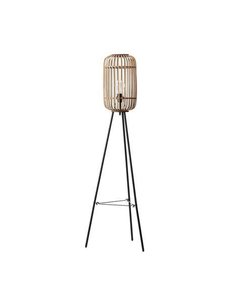 Boho-Stehlampe Woodrow mit Rattanschirm, Lampenschirm: Rattan, Rattan, Schwarz, Ø 45 x H 130 cm
