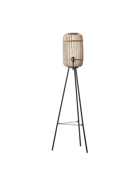 Lámpara de pie Woodrow, estilo boho, Pantalla: ratán, Cable: cubierto en tela, Ratán, negro, Ø 45 x Al 130 cm