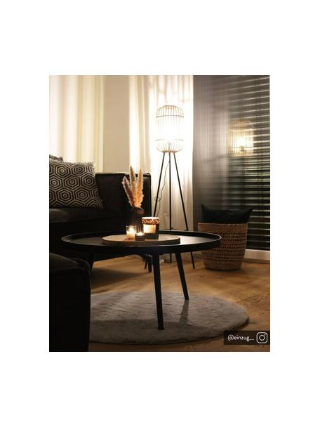Kleine tripod vloerlamp Woodrow van rotan, Lampenkap: rotan, Lampvoet: metaal, Rotan, zwart, Ø 45 x H 130 cm