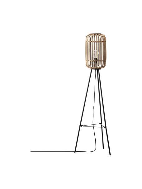 Kleine driepoot vloerlamp Woodrow van rotan, Lampenkap: rotan, Lampvoet: metaal, Rotan, zwart, Ø 45 x H 130 cm