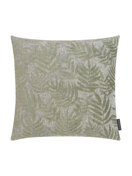 Federa arredo con motivo foglie di felce Palma, Retro: 100% velluto di poliester, Verde, Larg. 40 x Lung. 40 cm