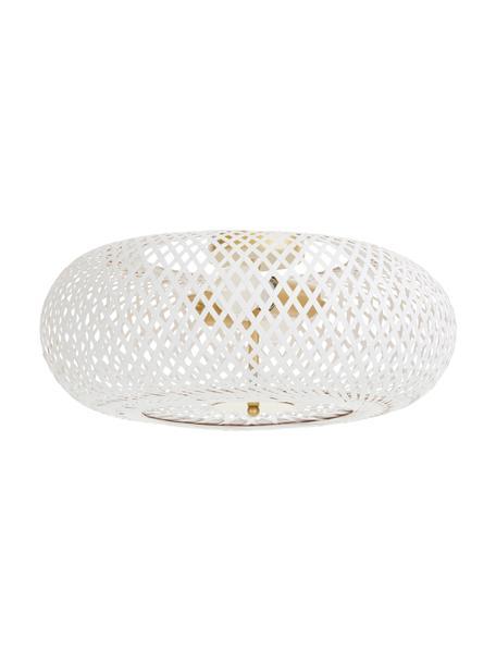 Design plafondlamp Evelyn van bamboehout, Lampenkap: bamboe, Baldakijn: gepoedercoat metaal, Decoratie: gepoedercoat metaal, Wit, Ø 50  x H 20 cm