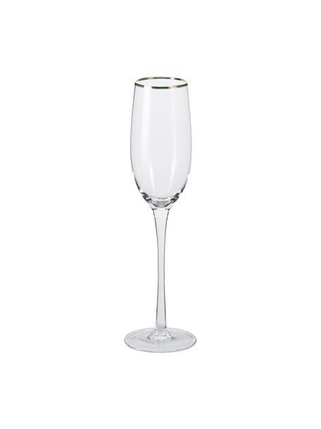 Copas flauta de champán artesanales Chloe, 4uds., Vidrio, Transparente, Ø 7 x Al 25 cm