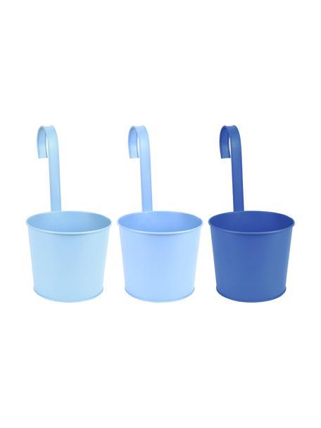 Set de maceteros con gancho Shades, 3uds., Metal recubierto, Azul, An 18 x Al 34 cm