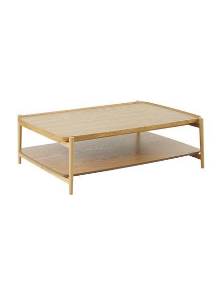Tavolino da salotto in legno di quercia Libby, Struttura: legno massiccio di querci, Marrone chiaro, Larg. 110 x Alt. 35 cm