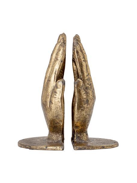 Podpórka do książek Bookend, 2 elem., Metal, Odcienie złotego z antycznym wykończeniem, S 15 x W 18 cm