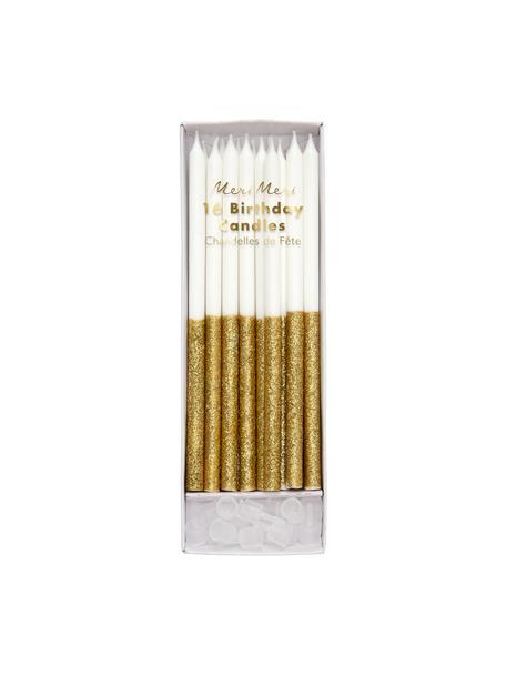 Tortenkerzen-Set Dippy, 32-tlg., Paraffinwachs, Kunststoff, Weiß, Goldfarben, Ø 1 x H 15 cm