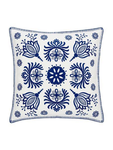 Kussenhoes Folk met borduurwerk, 100% katoen, Blauw, wit, 45 x 45 cm