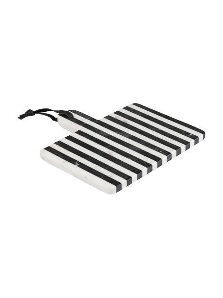 Marmeren snijplank Bergman in zwart/wit, Keramiek, marmer, kunstleer, Zwart, wit, 25 x 25 cm