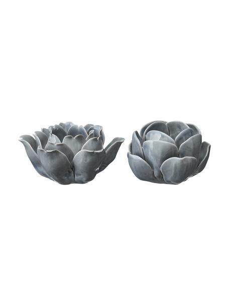 Teelichthalter-Set Sally, 2-tlg., Porzellan, lackiert, Grau, Set mit verschiedenen Größen