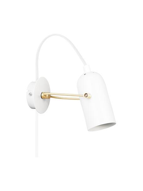 Retro-Wandleuchte Swan mit Stecker, Lampenschirm: Metall, beschichtet, Weiß, Messingfarben, 8 x 21 cm