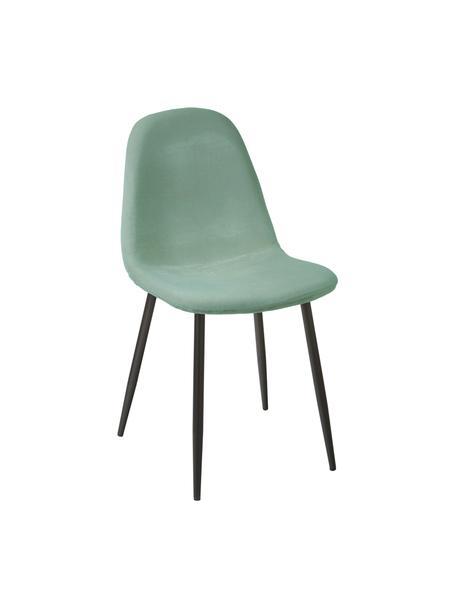 Fluwelen stoelen Karla, 2 stuks, Bekleding: fluweel (100 % polyester), Poten: gepoedercoat metaal, Fluweel saliegroen, 44 x 53 cm