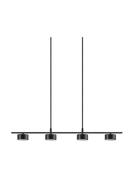 Grote dimbare LED hanglamp Clyde, Lampenkap: gecoat metaal, Baldakijn: gecoat metaal, Zwart, 115 x 10 cm