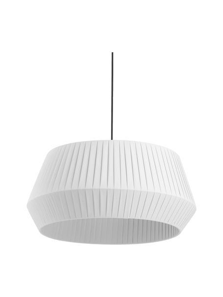 Klassieke hanglamp Dicte van geplooide stof, Lampenkap: stof, Baldakijn: gecoat metaal, Wit, zwart, Ø 53 x H 29 cm