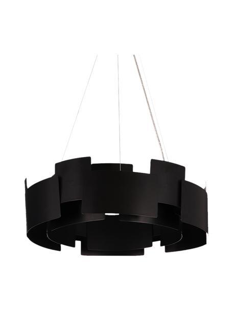 Moderne LED hanglamp Torino in zwart, Lampenkap: acryl, gecoat metaal, Baldakijn: gecoat metaal, Zwart, transparant, Ø 46 x H 50 cm