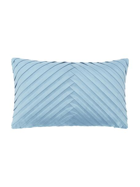Federa arredo strutturata in velluto azzurro Lucie, 100% velluto (poliestere), Blu, Larg. 30 x Lung. 50 cm