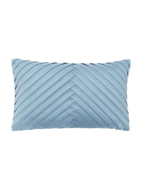 Fluwelen kussenhoes Lucie in lichtblauw met structuur-oppervlak, 100% fluweel (polyester), Blauw, 30 x 50 cm