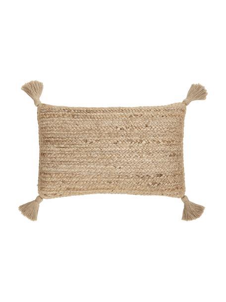 Funda de cojín de yute Jerome, Parte trasera: 100%algodón, Beige, blanco, An 30 x L 50 cm