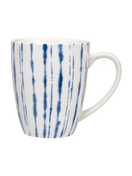 Porseleinen koffiemokken Grace in crèmewit/donkerblauw, 2 stuks, Porselein, Wit, blauw, Ø 8 x H 10 cm
