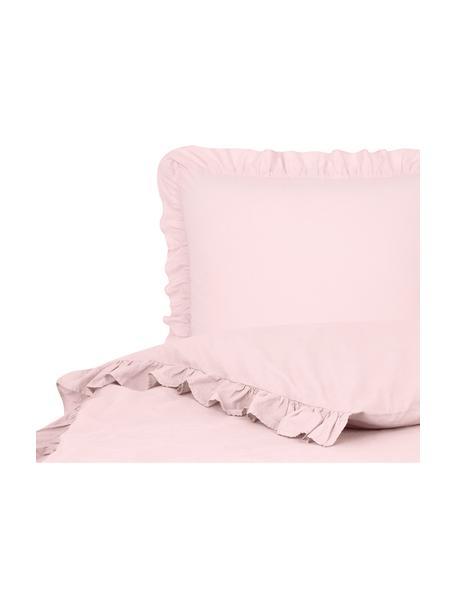 Pościel z bawełny z efektem sprania i falbankami Florence, Blady różowy, 135 x 200 cm + 1 poduszka 80 x 80 cm