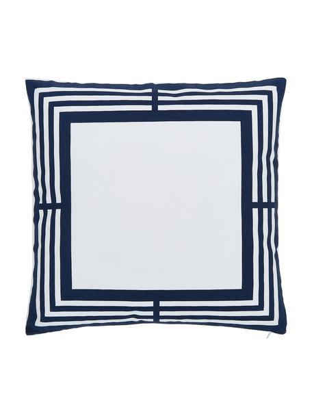 Federa arredo con motivo grafico blu scuro/bianco Zahra, 100% cotone, Bianco, blu scuro, Larg. 45 x Lung. 45 cm