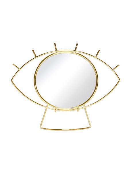 Kosmetikspiegel Lashes mit goldenem Edelstahlrahmen, Spiegelfläche: Spiegelglas, Goldfarben, 26 x 20 cm