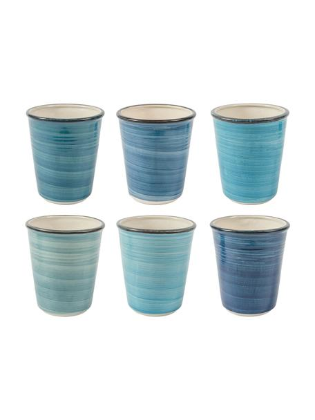 Komplet ręcznie malowanych kubków Baita, 6 elem., Kamionka (twardy dolomit) ręcznie malowana, Odcienie niebieskiego, Ø 9 x W 11 cm