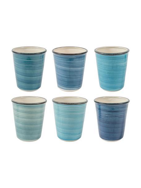 Tazas originales Baita, 6uds., Gres, Tonos azules, Ø 9 x Al 11 cm