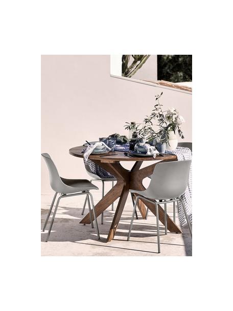 Kunststoffen stoelen Dave met metalen poten, 2 stuks, Zitvlak: kunststof, Poten: gepoedercoat metaal, Taupe, B 46 x D 53 cm