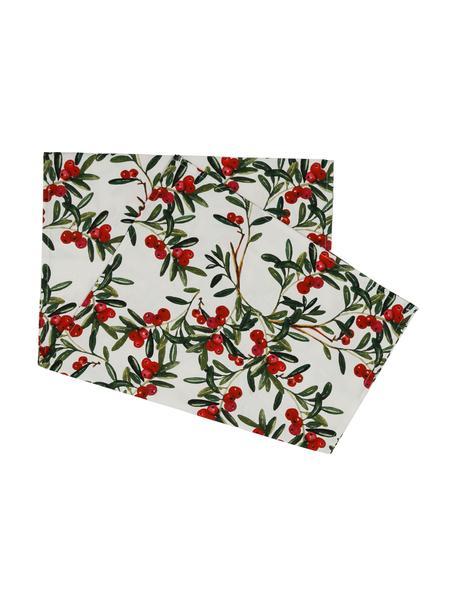 Baumwoll-Tischdecke Airelle mit weihnachtlichen Motiven, Baumwolle, Weiss, Rot, Grün, 50 x 160 cm