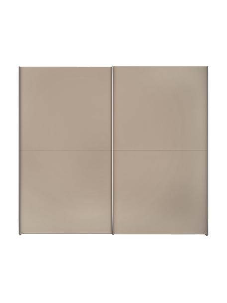 Kledingkast Oliver met schuifdeuren in beige, Frame: panelen op houtbasis, gel, Beige, 252 x 225 cm