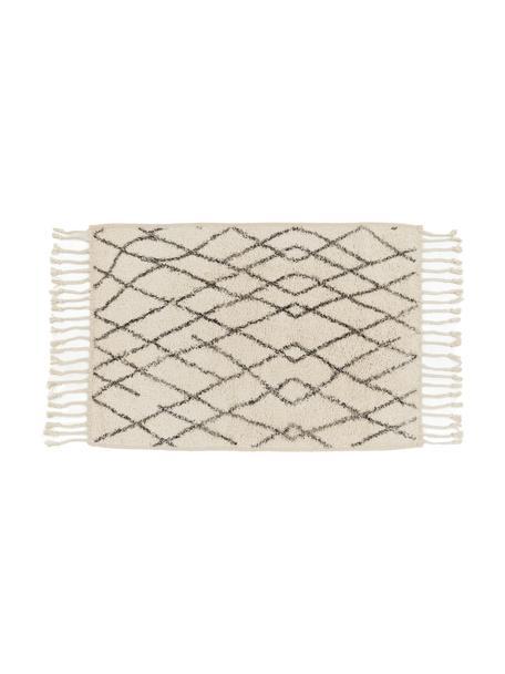 Pluizige badmat Beth met kwastjes, antislip, Bovenzijde: 100% katoen, Onderzijde: silicone, Crèmekleurig, grijs, 60 x 90 cm